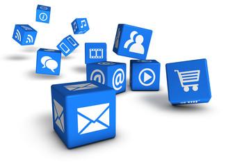 Website Social Media And Internet Cubes