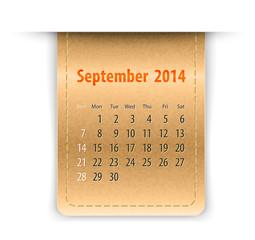 Glossy calendar for september 2014 on leather texture. Sundays f