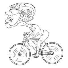 Line-art caricature of a bicycle athlete