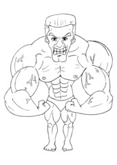 Line-art caricature of a bodybuilder