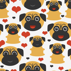 Seamless pattern with cute pugs