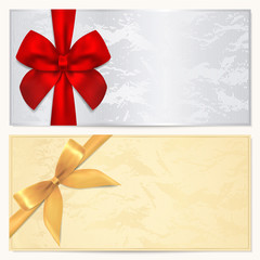 Gift certificate / Voucher / Coupon template. Bow (ribbons)