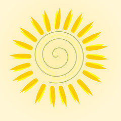 Abstract summer sun with yellow background