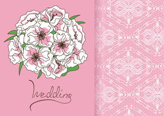 Wedding invitation or card with bridal bouquet