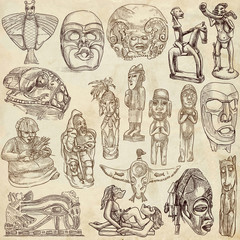 Native and old art around the world - drawings on old paper