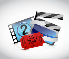 movie concept and ticket illustration design