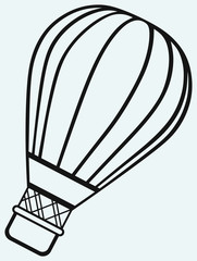 Hot air balloon in the sky isolated on blue background