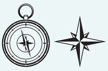 Black wind rose and compass isolated on blue background