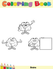 Coloring Book Page Brain Cartoon Character 4