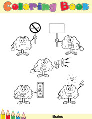 Coloring Book Page Brain Cartoon Character 7