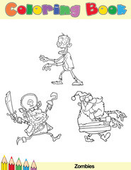 Coloring Book Page Zombie Cartoon Character