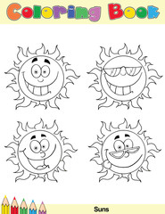 Coloring Book Page Sun Cartoon Character 1