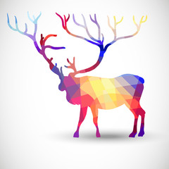Silhouette of a deer of geometric shapes