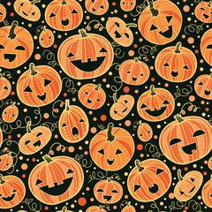 vector Halloween pumpkins seamless pattern background with hand