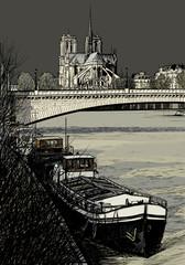 Paris - Ile de la cite - barges