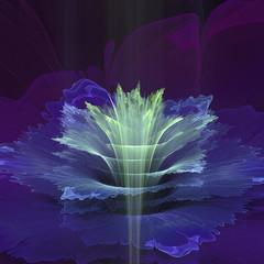 Wall Mural - Blue futuristic fractal flower
