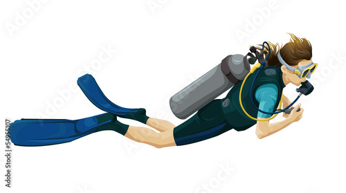 Female scuba diving clipart