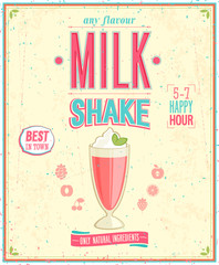 Wall Mural - Vintage MilkShake Poster. Vector illustration.