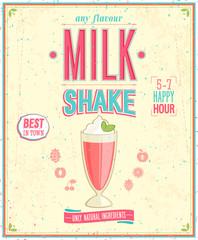 Wall Mural - Vintage MilkShake Poster. Vector illustration.
