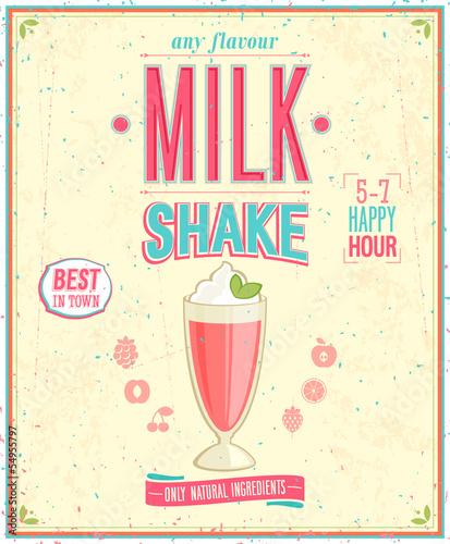 Wall mural Vintage MilkShake Poster. Vector illustration.