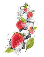 Deurstickers In het ijs Ice strawberries on white background