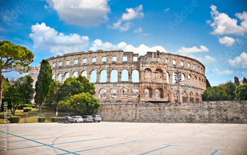Fotomurales Roman amphitheatre (Arena) in Pula, Croatia.