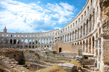 Fotomurales - Roman amphitheatre (Arena) in Pula, Croatia.