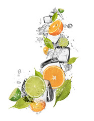 Deurstickers In het ijs Ice oranges and limes on white background