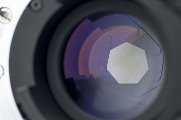 Lens shutter closeup with reflections