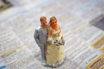 Junges Hochzeitspaar mit Immobilienanzeigen III
