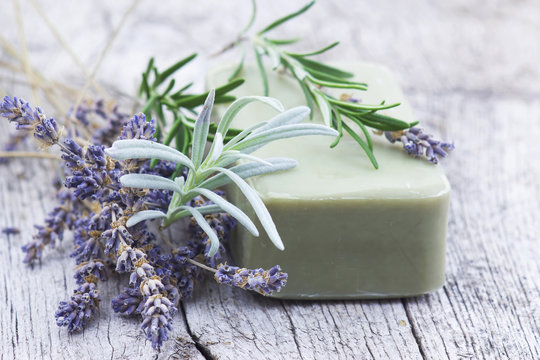 bar of natural soap with herbs