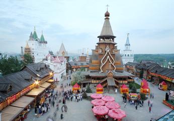 Old wooden church in entertainment center Kremlin