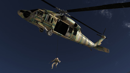 The soldier and the helicopter