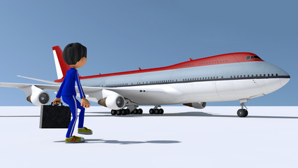 The little man and the plane