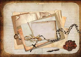 Vintage background with cards, roses and letters