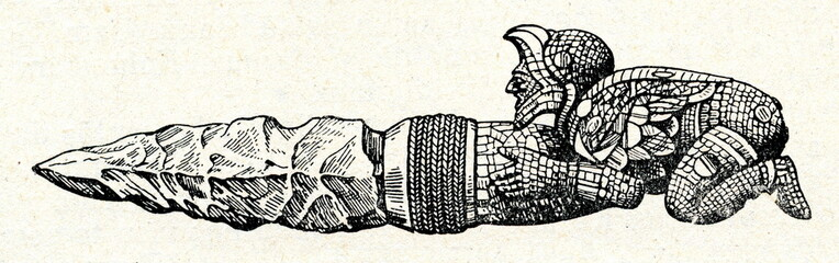 Aztec sacrificial knife with a mosaic handle