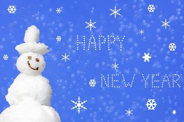 Weihnachtskarte Schneemann - Happy New Year