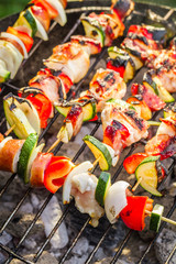 Hot skewers on the grill