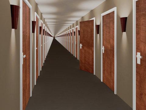 Long hallway with open door