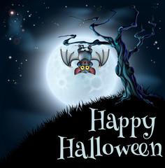 Blue Halloween Moon Bat Background