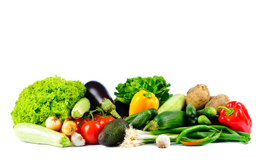 Poster Légumes frais vegetables on a white background