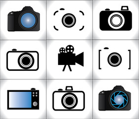 Concept Illustration of different trendy Camera icons or symbols