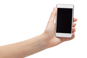 Female hand holding a modern smartphone