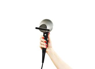 Hairdryer in hand on white background
