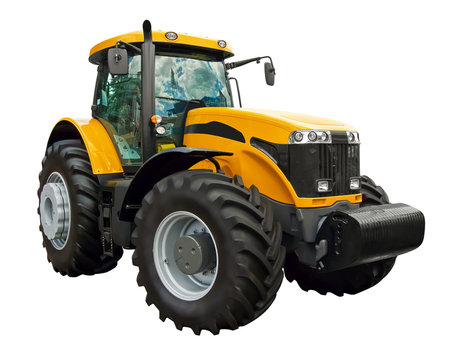 Yellow farm  tractor