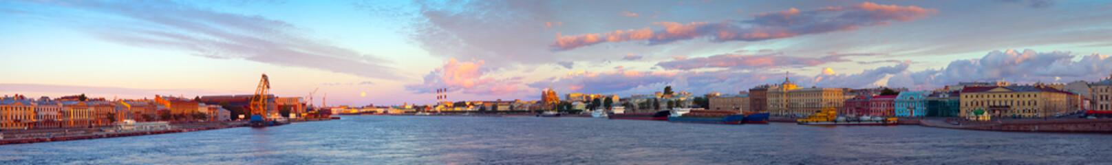 Panorama of Neva river in morning. Saint Petersburg