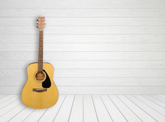 Guitar in white wood room