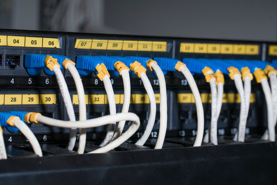ethernet cables connected to servers
