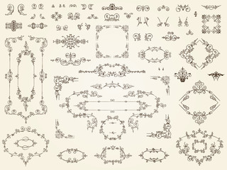 Collection of filigree ornament elements