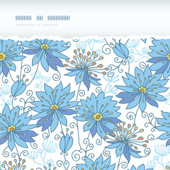 Vector heavenly flowers horizontal torn seamless pattern